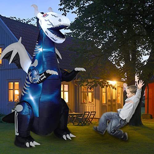 popular Twinkle Star 8ft Halloween Inflatable Yard Decorations Lighted Skeleton Dinosaur, Animated Blow Up Tyrannosaurus T-Rex Yard Prop, new arrival Giant Lawn Decorations Home discount Garden Holiday Party Outdoor Decor outlet sale