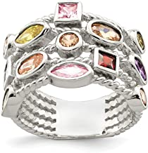 925 Sterling Silver Multi Color Shaped Gem 5 Strand Band Ring Fine Jewelry For Women Gift Set