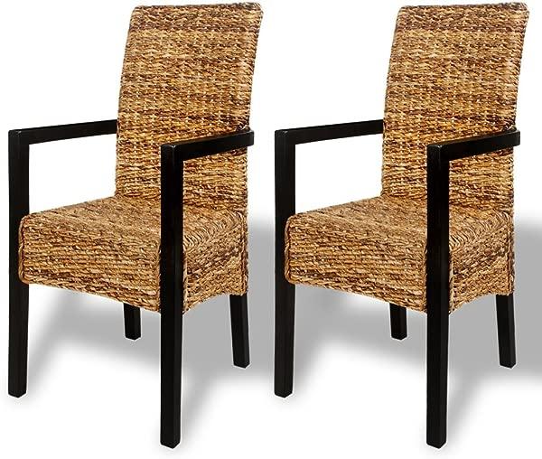 节日之夜 2 套 Abaca 编织餐椅带扶手手工编织高背木架边椅厨房餐厅家用小酒馆家具 21 3X22 8X41 3 W X D X H