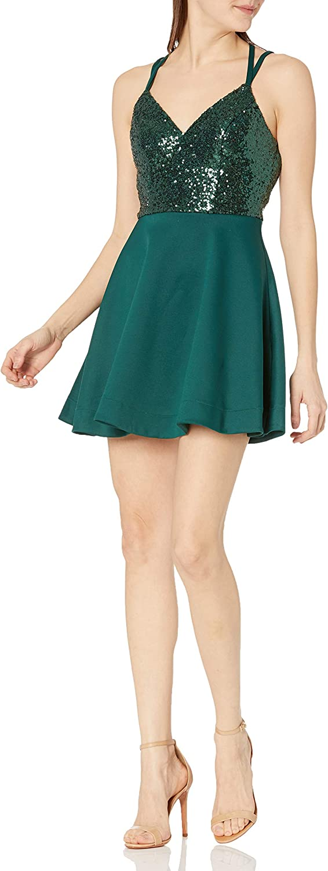 Speechless Women's Sleeveless Sequin-top Skater Dress