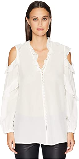 China Crepe Shirt with Open Shoulders