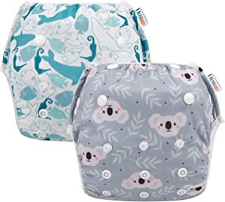 ALVABABY Swim Diaper Reuseable Washable 2 Pack Large Size Swim Lession Gift ZYK59-YX35-CA