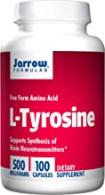 Jarrow Formulas L-Tyrosine, Supports Synthesis of Brain Neurotransmitters, 500mg, 100 Capsules (Pack of 2)