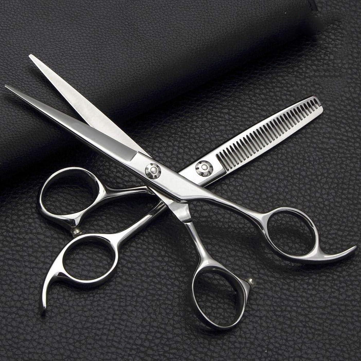 ベスビオ山落ち込んでいる寄稿者Jiabei 6インチプロフェッショナル理髪セット、フラットはさみ+歯はさみステンレス鋼理髪はさみ鋏 (色 : Silver)
