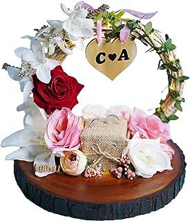 Lovaby Engagement Ring Platter for Ring Ceremony, Wooden Engagement Ring Tray for Couple (Ring Plate or Ring Holder)