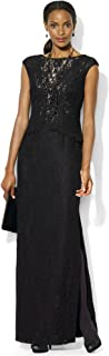 RALPH LAUREN Lauren Women's Petite Cap Sleeve Contrast Lace Peplum Gown Dress, Black, 6P