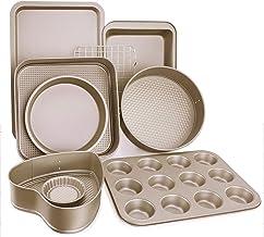 Esonmus 9pcs Nonstick Carbon Steel Bakeware Set Includes Bread Pan, Baking Sheet, Cookie Sheet, Springform Shaped Round Ca...
