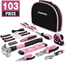 WORKPRO 103-Piece Pink Tool Kit - Ladies Hand Tool Set with Easy Carrying Round Pouch - Durable, Long Lasting Chrome Finish Tools - Perfect for DIY, Home Maintenance