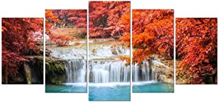 Pyradecor Red Forest Waterfalls Canvas Prints Wall Art Tree Pictures Paintings for Living Room Bedroom Home Decorations Modern 5 Panels Stretched and Framed Giclee Pretty Landscape Artwork