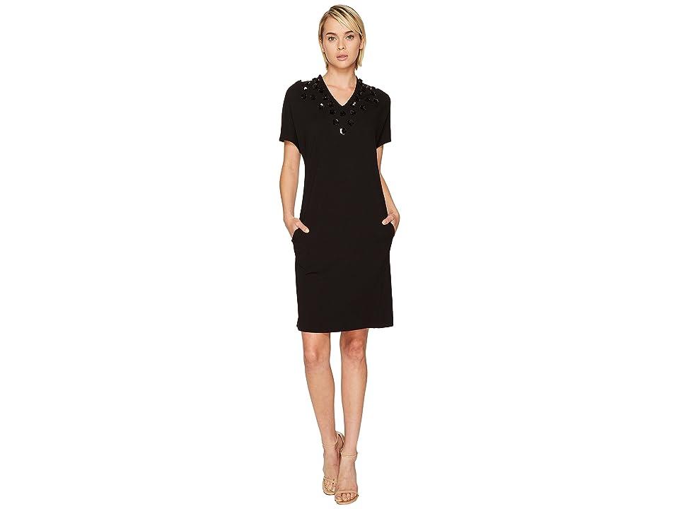 ESCADA Diflora Embellished Neckline Dress (Black) Women