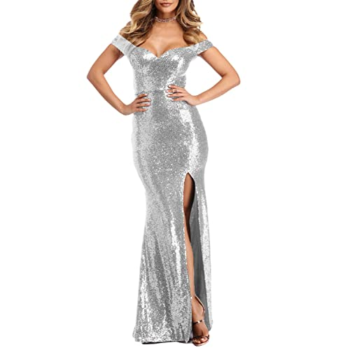 26d6f88dcb59 YSMei Women's Off Shoulder Sequins Evening Dress Split Mermaid Prom Gown  YPM464