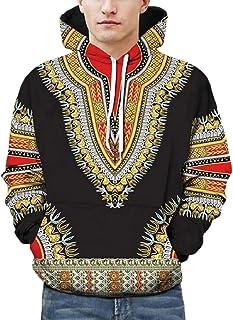 GAGA Men's African Print Hood Hoodie Long Sleeves African Dashiki Sweatshirts