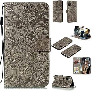 Abtory Honor 30S ケース, Flower Embossed カードスロット磁気スタンド保護ケース付きウォレットケースPUレザー for Huawei Honor 30S Grey