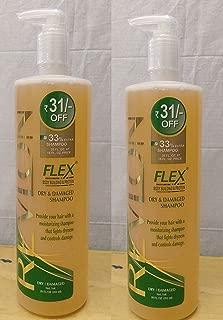 Pack of 2 - Revlon Flex Shampoo Dry Damaged Body Building Protein Shampoo Gentle Cleansing 20 Oz / 592 ml