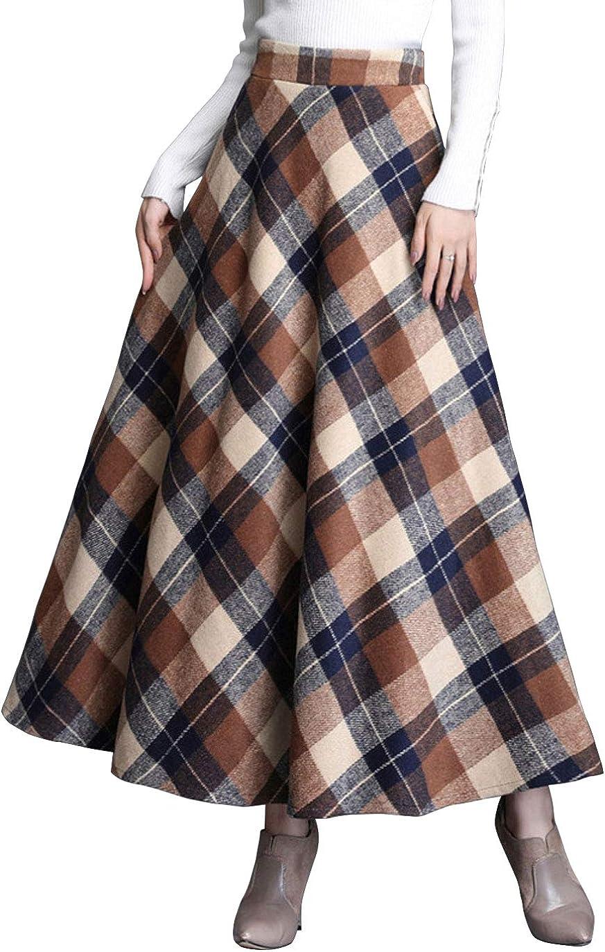 ebossy Women's Vintage High Waist Wool Blend Plaid A-Line Long Maxi Skirt with Pocket