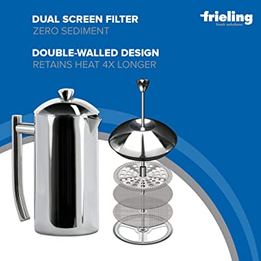 Frieling USA Double-Walled Stainless-Steel French Press Coffee Maker, Polished, 17 Ounces