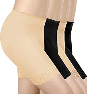4 Pieces Lace Undershorts for Women Stretch Underwears Yoga Shorts Under Dresses Anti-Friction Leggings for Women (S-M)