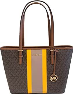 Michael Kors Jet Set Travel Center Stripe Carryall Tote Bag Purse Brown Multi, Medium