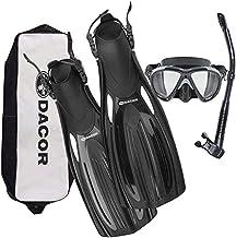 Dacor Mariner Scuba Diving & Snorkeling Gear Set | Diving Fins/Snorkeling Fins w Mask & Semi-Dry Snorkel | Open Heel | w C...