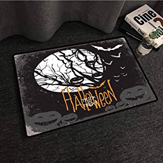 Designed Kitchen Bathroom Floor Mat Colorful Vintage Halloween,Halloween Themed Image with Full Moon and Jack o Lanterns on a Tree,Black White,W31 xL47 Kids Rugs for playroom