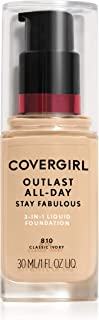 COVERGIRL Outlast All-Day Stay Fabulous 3-in-1 Foundation, 1 Bottle (1 oz), Classic Ivory Tone, Liquid Matte Foundation an...