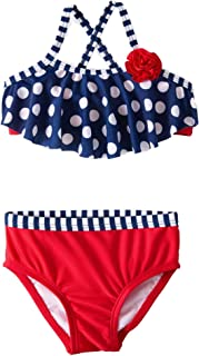 Wondernation Infant Girls Red White & Blue Polka Dot 2 Piece Ruffle Bikini Swimming Suit