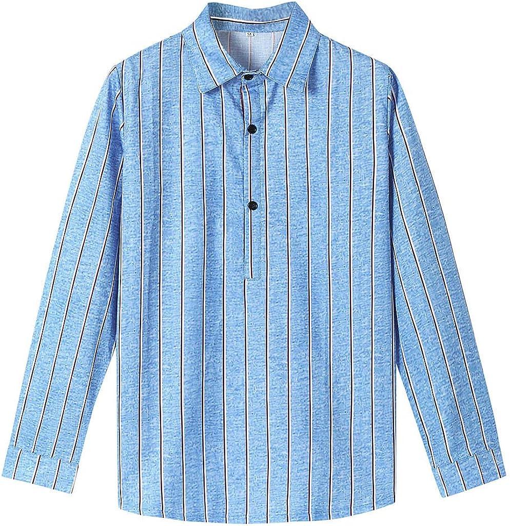 MODOQO Men's Stripe Button Down Casual Design Slim Fit Long Sleeve Dress Shirt