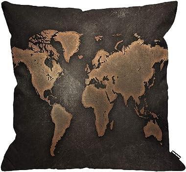 HGOD DESIGNS Housses de Coussin Carte du Monde Millésime Carte sur Noir Fond Taies d'oreillers Maison Décoration pour Hom