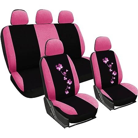 Woltu As7252 Universal Schonbezüge Für Auto Sitzbezüge Sitzschoner Sitzbezug Auflage Schutz Butterfly Stickerei Schwarz Rosa Auto