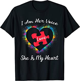 Funny I Am Her Voice Autism Awareness Shirt Heart Voice Gift