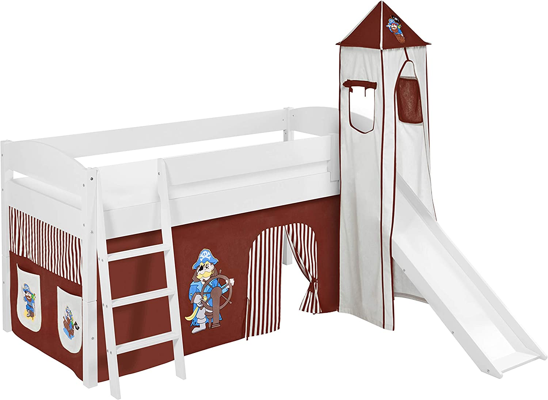 Lilokids Spielbett IDA 4105 Pirat Braun Beige - Teilbares Systemhochbett wei - mit Turm, Rutsche und Vorhang