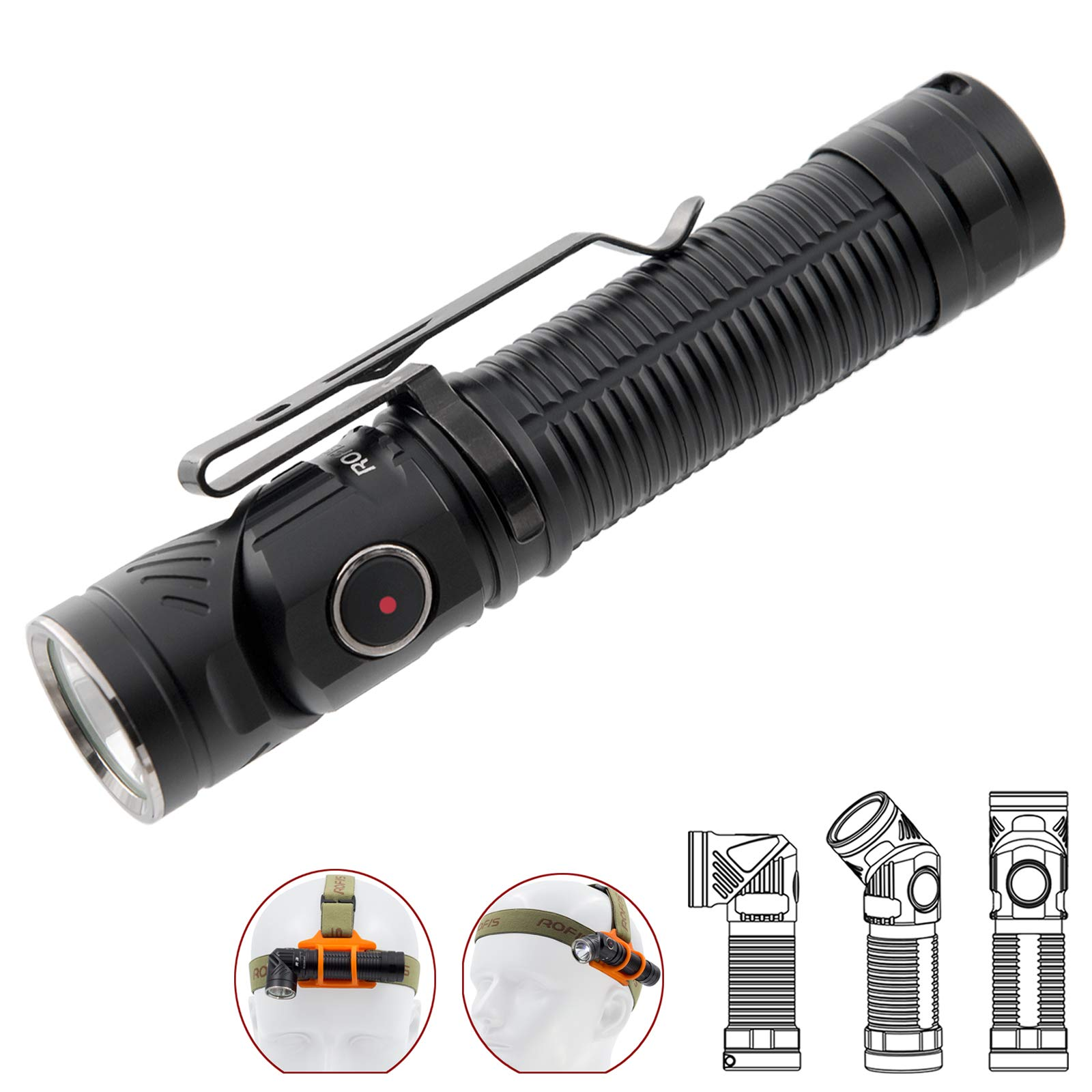 18650 Torch Light 90 Degree Rotation Tail Magnet LED Torch  Bright Flashlight BR