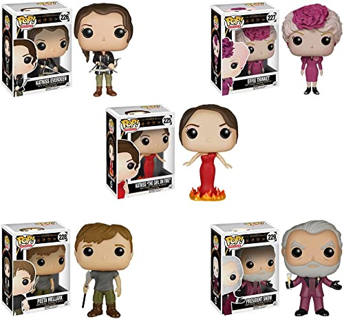mejor moda The Hunger Games Games Games Katniss Girl on Fire, Katniss Everdeen, Effie Trinket, Peeta Mellark, President Snow Pop  Vinyl Figure Set of 5 by The Hunger Games  Entrega gratuita y rápida disponible.