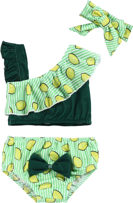 Esobrerie Baby Girl Swimsuit Fruit Pattern Print Ruffle Bikini Tankini Swimwear Suit with Headband Two-Piece Bathing Suit