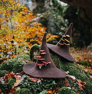 Sombrero de bruja de lana marrón con setas dark wicca halloween harry potter disfraz cosplay