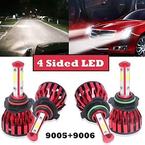 popular 9005 and 9006 Combo LED Headlight Bulbs Set For Chevrolet Express 3500 (2007-2015) 4 Sided 360 Degree Lighting High Low Beam outlet online sale Conversion Kit 6000K outlet sale Cool White, 5 Year Warranty online sale