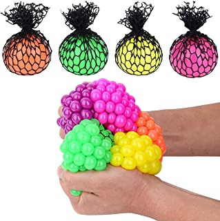 "Totem World 12 Colorful Sewn Mesh Stress Balls - 2.4"" Squishy Fidget Toy Perfect for Kids and Adults Materials for Lasting Use - Squeeze Balls for Anxiety and Concentration - Great Party Favors"