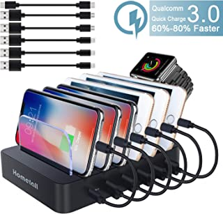 Fastest Charging Station with QC 3.0 Quick Charge Hometall Multiple Phone Dock Stand 6 USB Ports with 6 Cables, Charging Docking Stand Compatible for iPhone, Ipad, Samsung(Black)