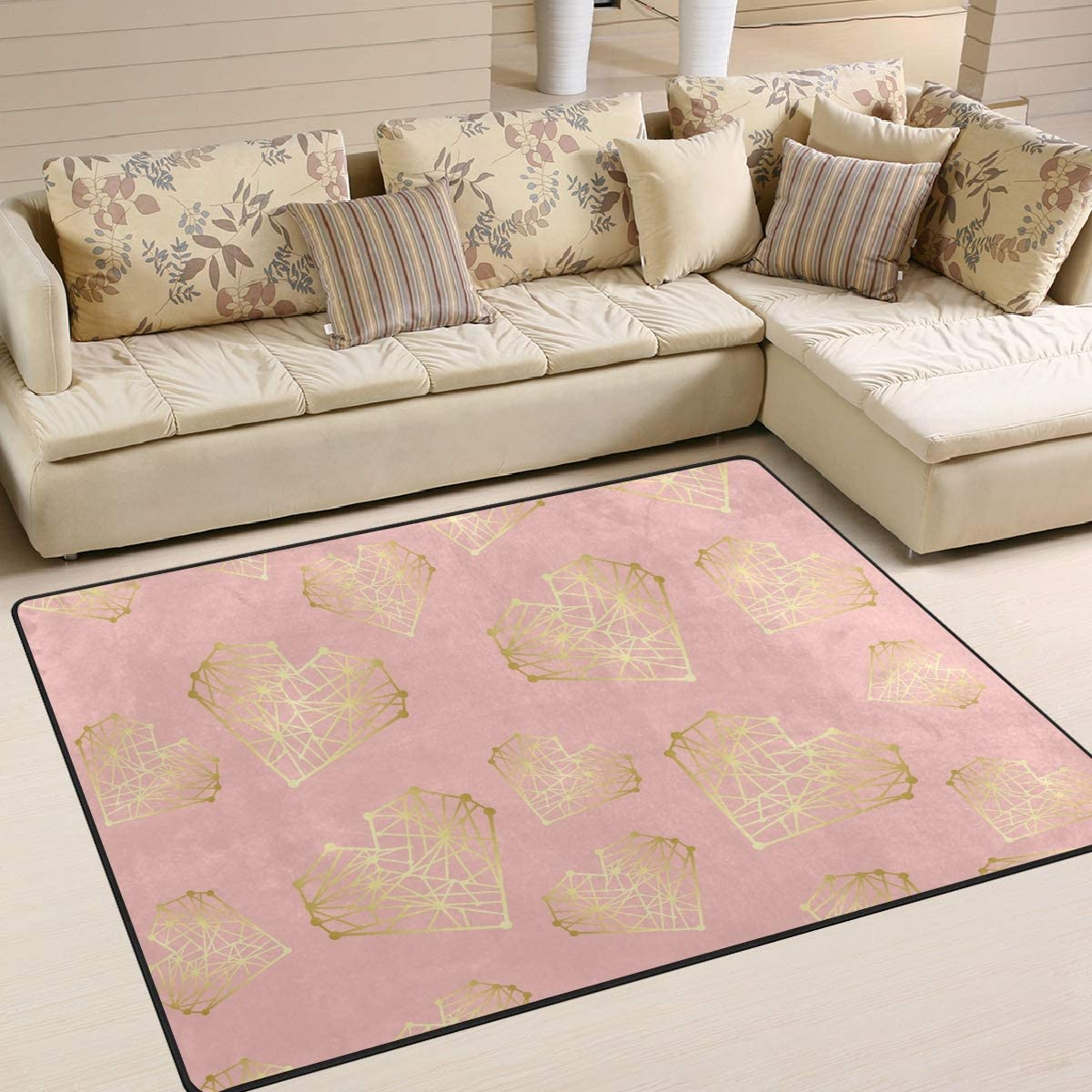 AGONA Pink Gold Hearts Area Rug famous Max 80% OFF Rugs 5x7 Indoor Large Soft
