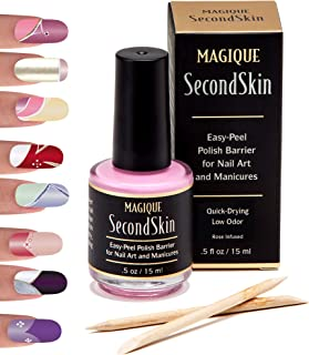 Nail Art Liquid Latex Barrier - Simply Peel Off Liquid Tape - Mess Free Mani & Pedi - Cuticle Guard for Manicures & Pedicures - Nails Edge Protector - Magique Second Skin, 0.5 fl oz