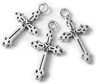 Heather's cf 95 Pcs Crosses Silver Cross Bulk Cross Pendant for Men Small CrossCharmsRosaryBeads 21 X 11mm