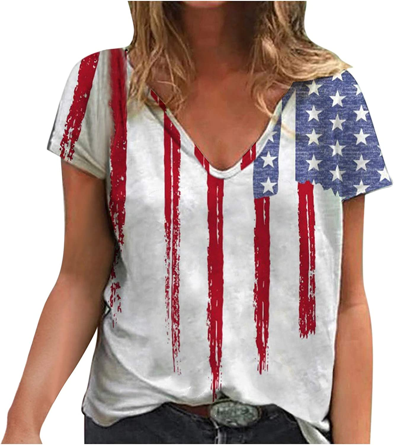 XUETON Womens Summer T Shirts Short Sleeve Tunic Strappy Cold Shoulder Tops American Flag 4th of July Patriotic Blouse