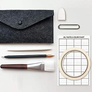 Oil Pastels Tool Set Art Supplies (Brush+Squeezee+2Scrapers+Blending Fingercap+Masking Tape+Color Chart+Felt Case) (Dark G...