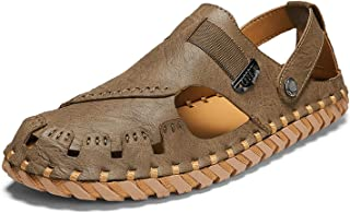 GHC Leisure Slippers & Sandals, Summer Lightweight Sandals for Men, Perforated Beach Shoes with Woven Belt Microfiber Leat...