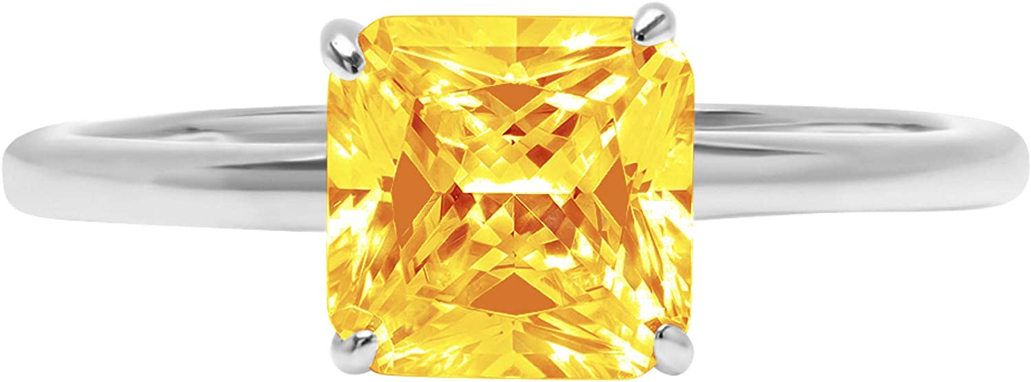 1.9ct Brilliant Asscher Cut Solitaire Natural Ide Ranking TOP17 Ranking TOP1 Citrine Yellow