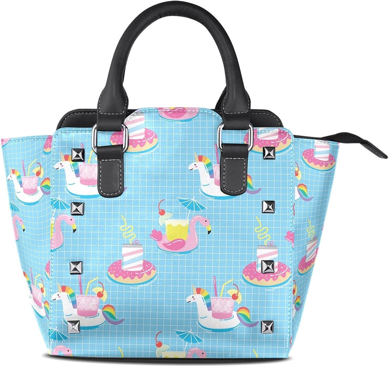 My Little Nest Women's Top Handle Satchel Handbag Funny Cartoon Summer Drink Holders Ladies PU Leather Shoulder Bag Crossbody Bag