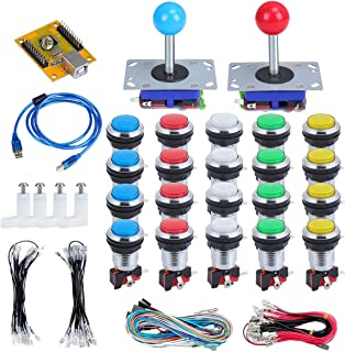 abcGoodefg 2 Player LED Arcade Buttons and Joysticks DIY Kit 2X joysticks and 20x LED Arcade Buttons USB Game Controller kit for PC, MAME and Raspberry Pi