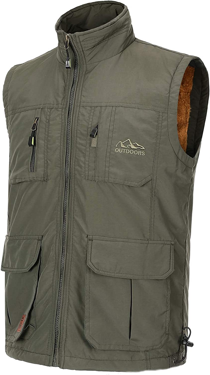 Spanye Men's Outdoor Padded Puffer Vest Fleeve Lined Sleeveless Jacket with Pockets for Work Fishing Photo