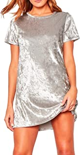 Women's Summer Short Sleeve Crushed Velvet Mini Short Dresses