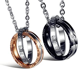 His & Hers Matching Set Titanium Stainless Steel Couple Pendant Necklace Korean Love Style with a Lucky Bean